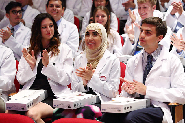 Students from the class of 2019 celebrate White Coat in 2015