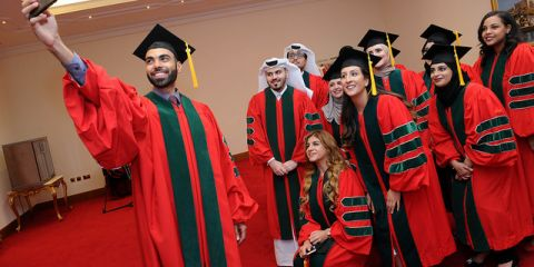 Qatar students celebrate graduation in 2018.