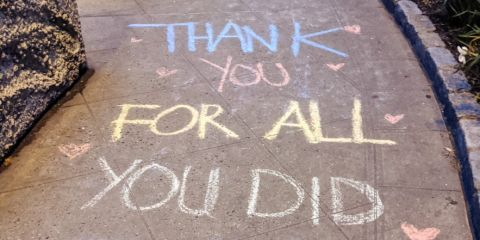 Chalk drawing thanking doctors for all their hard work