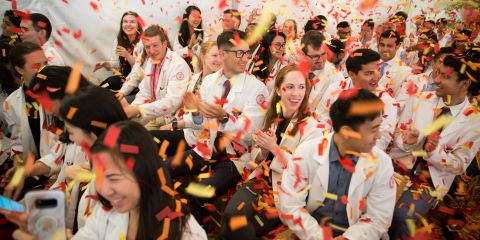 students celebrate the debt reduction announcement
