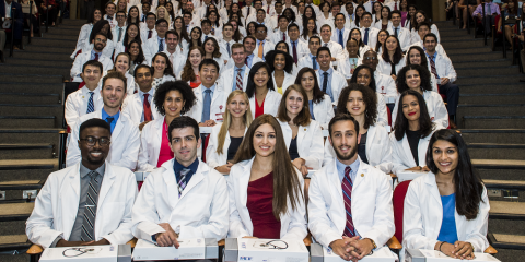 Weill Cornell Medical College's Class of 2022 during the White Coat Ceremony on Aug. 21.