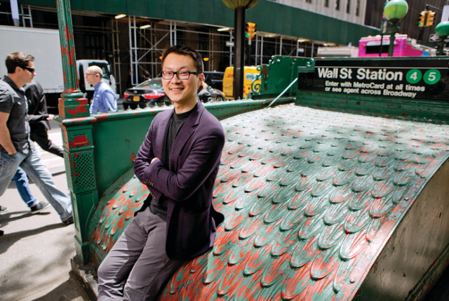 Investing in the Future: Dr. Ting Jia outside the Wall Street subway station in Lower Manhattan. Photo credit: John Abbott