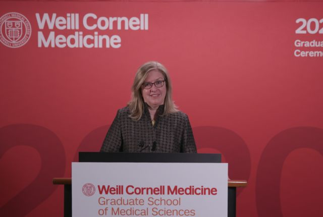 Dr. Barbara Hempstead speaks during the Weill Cornell Graduate School of Medical Sciences's virtual convocation ceremony.