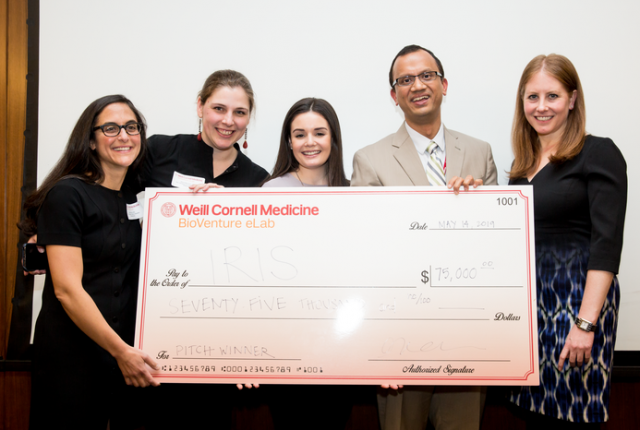 The company Iris took first prize in the $100,000 Biomedical Business Plan Challenge. Team members from left: Drs. Rochelle Joly, Alison Hermann, Meghan Reading Turchioe, Jyotishman Pathak, and graduate student Andrea Cohen. (Not pictured: Dr. Yiye Zhang). All photos: Ashley Jones.