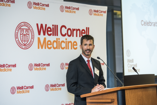 Dr. Robert Peck speaking during Weill Cornell Medicine's Global Health Reception last year. Credit: Studio Brooke