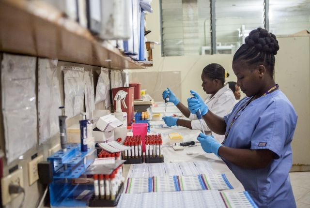 Blood being tested in Port-au-Prince, Haiti at the GHESKIO lab. Photo credit: Bahare Khodabande